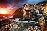 Beautiful stormy light in Riomaggiore, Cinque Terre, Italy