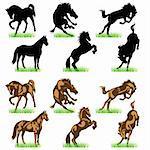 Horses silhouettes set 02