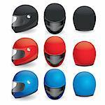 Vector illustration of motorcycle helmet. Black, red and blue set