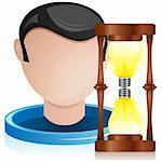 Vector - Man Head with Light Bulb Hourglass