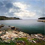 Scenic coastal view of rocky Atlantic shore in Newfoundland, Canada