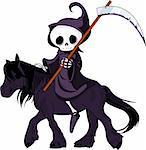 Cute cartoon grim reaper with scythe  riding black horse