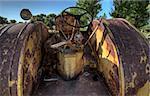 Old Vintage Farm tractor Saskatchewan Canada yellow