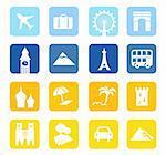 16 travel design blocks isolated on white background