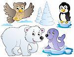 Various happy winter animals - vector illustration.