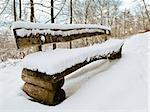 bench in a snowy landscape