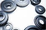 Steel gears on plain background. Copy space