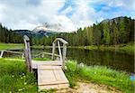 Beautiful summer Alpine  lake lago di Antorno view (Italia Dolomites)