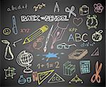 Back to school - set of school doodle vector illustrations on blackboard