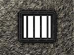 rivets en acier de la prison fenêtre 3d - illustration