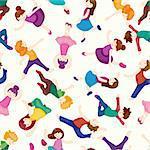 cartoon dancer seamless pattern