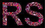 Letter R, S. Valentine alphabet set with heart. Vector font.
