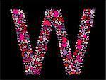 Letter W. Valentine alphabet set with heart. Vector font.
