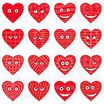 Valentine hearts smilies, symbolising various love emotions, set. Vector