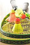 Badminton-Schläger und Birdies
