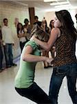 USA, Utah, Spanish Fork, Two girls (14-17) fighting in school corridor