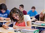 USA, Utah, Spanish Fork, School children (14-17) working in classroom