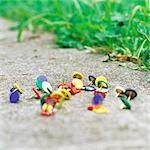 Thumbtacks on sidewalk