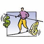 Man balancing dollar and euro signs