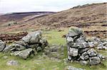 Granite rocks forming the entrance of Grimspound, a Bronze Age camp 3500 years old, Dartmoor, Devon, England, United Kingdom, Europe
