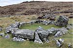 Ruins of middle Bronze Age house, Grimspound, Dartmoor, Devon, England, United Kingdom, Europe