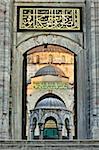 Entrée de la Cour intérieure de la mosquée bleue, construit au Sultan Ahmet ier en 1609, conçu par l'architecte Mehmet Aga, Istanbul, Turquie, Europe