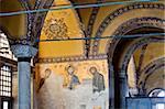 La mosaïque de Deesis, représentant le Christ Pantrocrator flanquée de la Vierge Marie et Saint-Jean Baptiste, datant de la restauration de Constantinople en 1261 à la fin de l'occupation du Crusader, Aya Sofya (Hagia Sophia), patrimoine mondial de l'UNESCO, Istanbul, Turquie, Europe