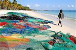 Fishing nets on the beach, Pangane beach, Mozambique, Africa