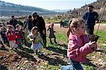 Tu Beshvat Jewish festival, tree planting event organized by the JNF in a Jerusalem park, Jerusalem, Israel, Middle East