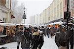 Portobello Road Market in snow, Notting Hill, London, England, United Kingdom, Europe