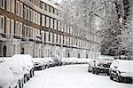 London Straße im Schnee, Notting Hill, London, England, Vereinigtes Königreich, Europa