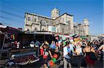 Street market outside a church, San Salvador, El Salvador, Central America