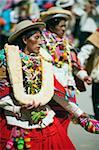 Women wearing bread decoration, Anata Andina harvest festival, Carnival, Oruro, Bolivia, South America
