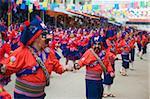 Women dancing in parade at Oruro Carnival, Oruro, Bolivia, South America