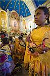 Procession continuing inside church at the Oruro Carnival, Oruro, Bolivia, South America