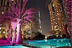 Vue de nuit de Burij tour de Khalifa, Dubai, Émirats Arabes Unis, Moyen-Orient