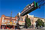 Signe de Bienvenue sur la rue principale historique à Brigham City, Utah, États-Unis d'Amérique, l'Amérique du Nord
