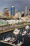 Skyline de Seattle et Bell Harbor Marina, Seattle, état de Washington, États-Unis d'Amérique, l'Amérique du Nord
