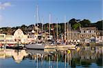 Yachts amarrés dans le port de Padstow, un matin de printemps magnifique, Cornwall, Angleterre, Royaume-Uni, Europe