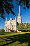 Die Westfront der Kathedrale von Salisbury aus Nähe Kathedrale, Salisbury, Wiltshire, England, Vereinigtes Königreich, Europa