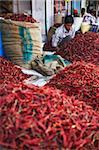 Vendor selling chillies at market, Bundi, Rajasthan, India, Asia
