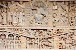 Tympan montrant Christ dans la gloire et le jugement dernier, abbaye Sainte Foy, église, Conques, Aveyron, Massif Central, France, Europe