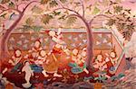 Detail of a mural painting in the Uposatha (shrine hall) of Buddhapadipa temple, Wimbledon, London, England, United Kingdom, Europe