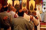 Section masculine au cours de la célébration à Abbassiya copte église, au Caire, en Égypte, en Afrique du Nord, Afrique