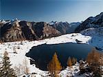 Alpine Lake under first snow