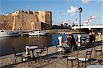 Vieux port canal et kasbah mur, Bizerte, Tunisie, l'Afrique du Nord, Afrique