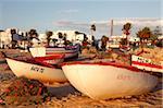 Pêche des bateaux par le port, Hammamet, Tunisie, Afrique du Nord, Afrique