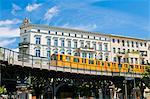 The Berlin tram, in Berlin Kreuzberg, Berlin, Germany, Europe