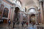 Le méridien à l'intérieur de St. Marie des anges et l'église des Martyrs, Rome, Lazio, Italie, Europe