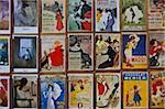 Fin-de-Siecle posters by Toulouse-Lautrec and other artists, Place du Tertre, Montmartre, Paris, France, Europe